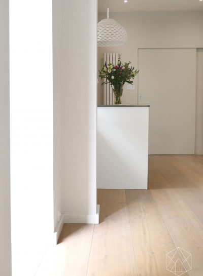 White painted hallway with wooden floor, designed by an Architectural Interior Designer