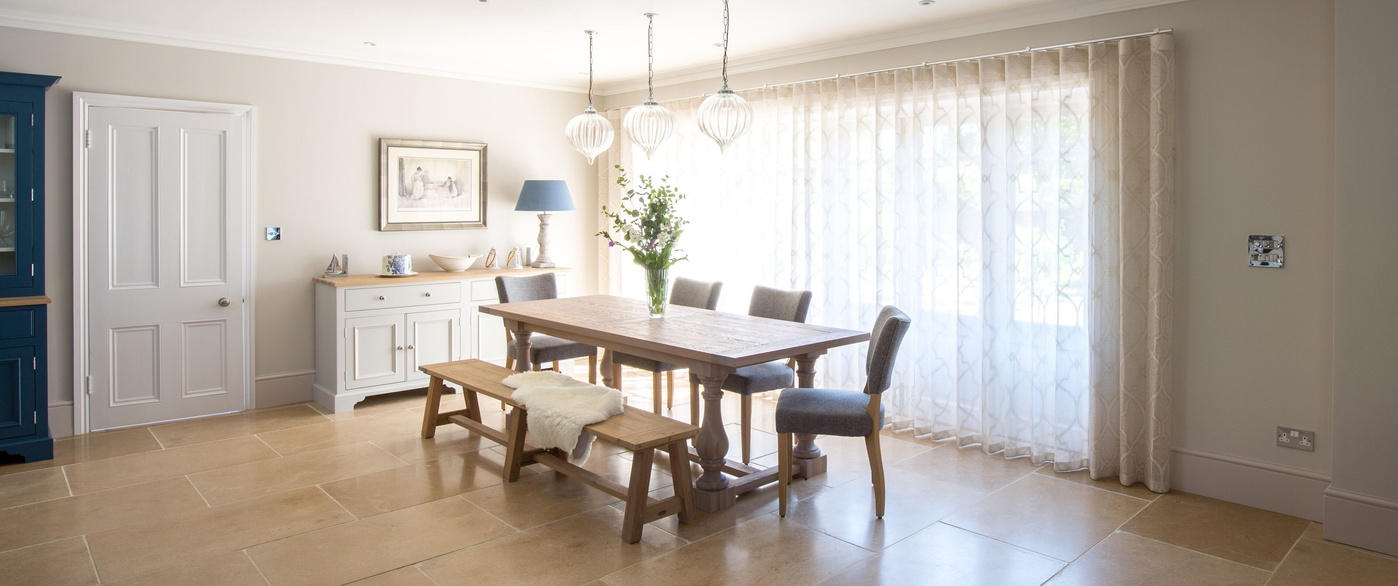 Spacious and soft dining area